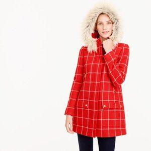 J. Crew Chateau Parka Windowpane Red White Wool